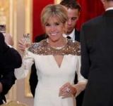 Бриджет Макрон в белом платье была звездой на ужин с герцогом и герцогиней Люксембурга
